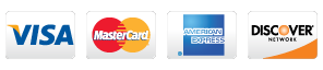 Visa, Master Card, Amarican Express, and Discover are credit cards we accept