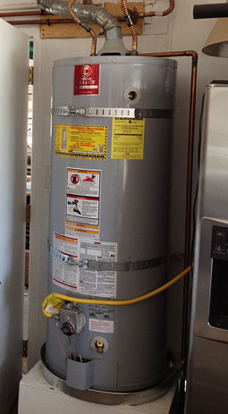 successful Redwood City water heater repair in garage